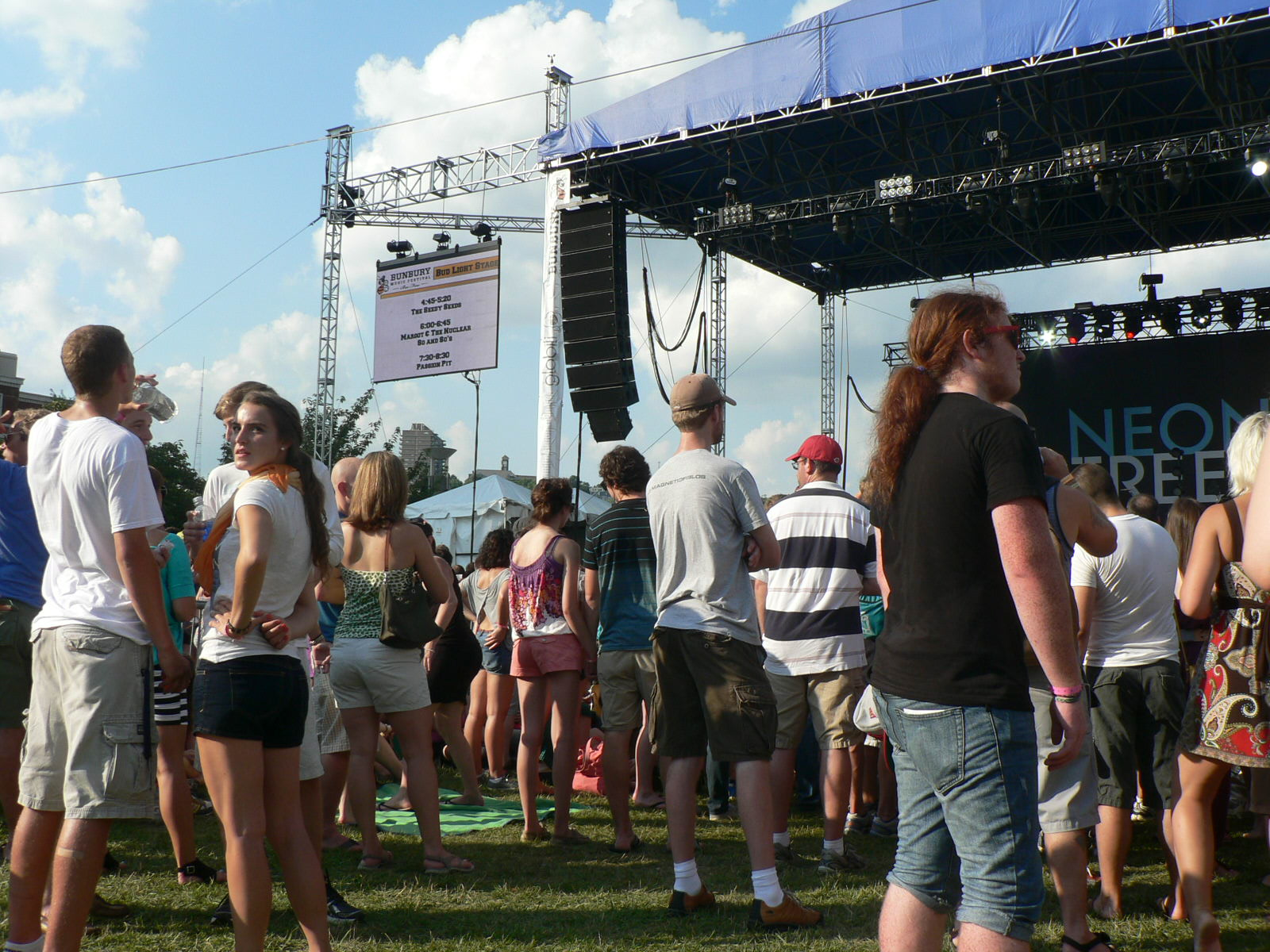 Neon Trees prepares to take the stage at the 2012 Bunbury Music Festival in Cincinnati