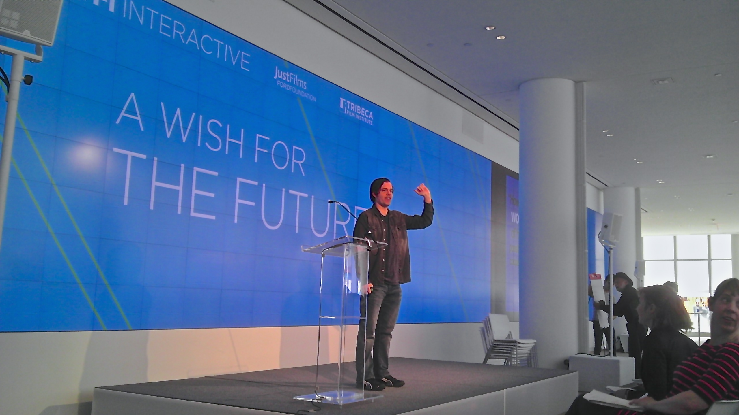 Futurist and media innovator Lance Weiler speaks at the 2013 TFI Interactive Conference at New York's IAC Building